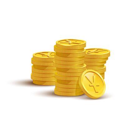 Gold coins with yuan sign flat vector illustration Ilustração