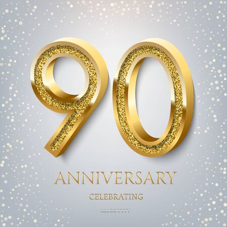 90th Anniversary Celebrating golden text and confetti on light blue background. Vector celebration 90 anniversary event template.