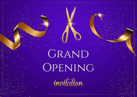 Grand opening invitation blue vector banner. Shiny scissors cutting golden ribbon
