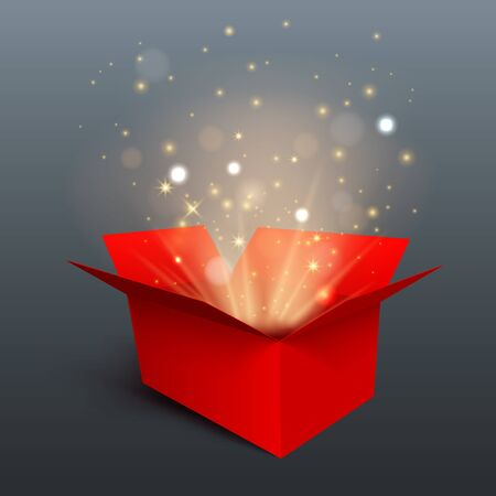 Red gift box with yellow light isolated on gray background. Vector design element. Ilustração