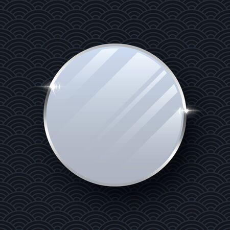 Silver makeup mirror vector mockup isolated on dark pattern background. Ilustração