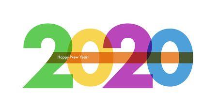 Happy New Year flat greeting card template Ilustração