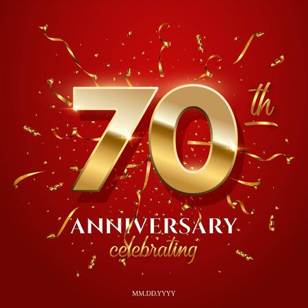 70 golden numbers and Anniversary Celebrating text with golden serpentine and confetti on red background. Vector seventieth anniversary celebration event square template.