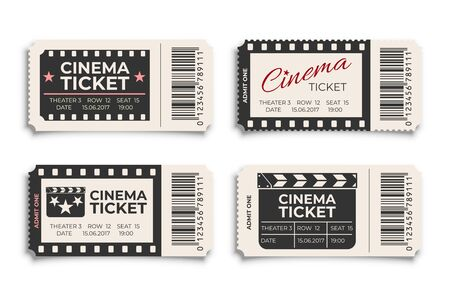 Cinema tickets realistic vector template isolated on white