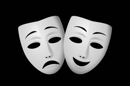 Máscara teatral de comedia y tragedia aislada sobre fondo negro. Ilustración de vector.