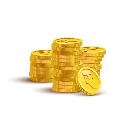 Gold coins with rupee sign flat vector illustration. Savings, investment symbol. Currency of India, foreign money. Financial growth concept. Stack of golden coins isolated on white background