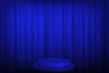Blue round podium with steps in front of the curtains. Vector illustration.