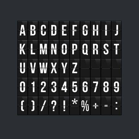 Flipboard style alphabet vector illustration