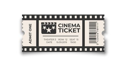 White cinema ticket with barcode template isolated on white background. Vector design element. Stock Illustratie