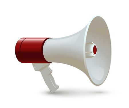 Red and white megaphone isolated on white background. Vector realistic 3d bullhorn.