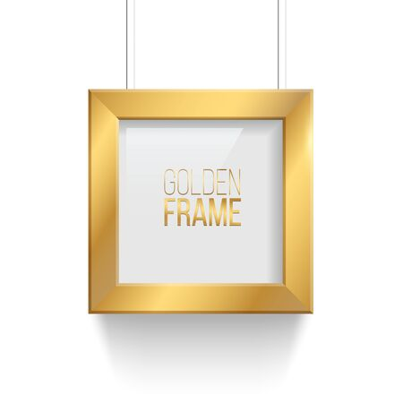 Square golden picture or photo frame isolated on transparent background. Vector design element.