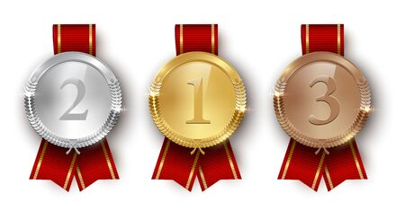 Award golden, silver and bronze medals with ribbons 3d realistic vector color illustration on white background