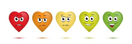 Customer satisfaction rating concept illustration. Negative to positive emotions scale. Funny facial expressions. Heart-shaped emoji of anger, irritation, surprise, joy, happiness isolated characters Vectores