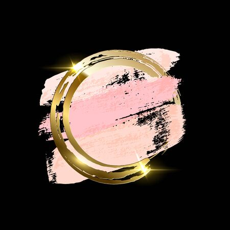Pastel pink brush strokes with golden brush ring isolated on black background. Vector design element Çizim