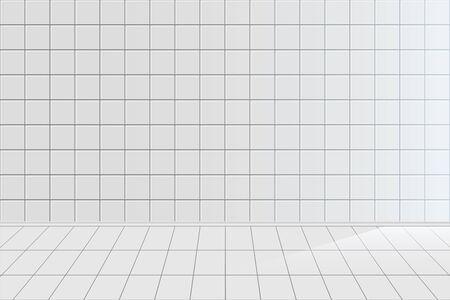 Fondo de vector realista de azulejo blanco. Baño limpio y vacío sin nadie dentro del diseño de fondo horizontal 3D. Textura de cerámica, sala de azulejos, pared en blanco de cocina y ilustración de piso