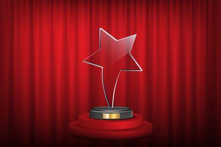 Star award on trophy realistic 3D illustration Banque d'images - 131983351