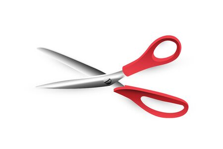 Open scissors icon with red handle on white background.