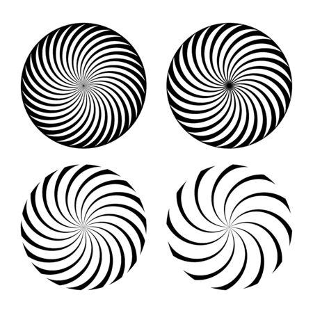 Hypnotic spiral vortex vector illustrations set