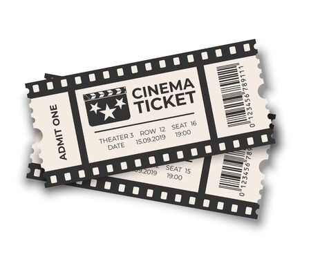 White overlapping cinema ticket with barcode templates set isolated on white background. Vector design elements.