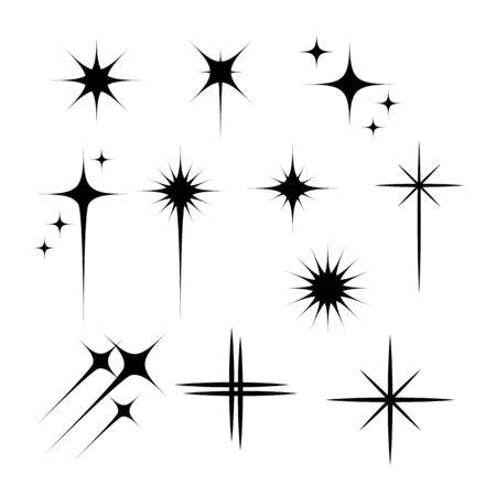 Black flashes vector illustration on white background Vektorové ilustrace