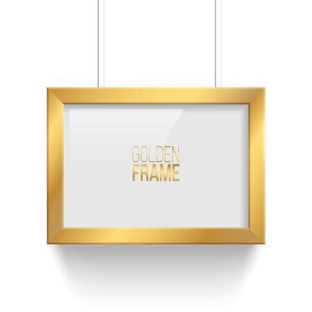 Rectangle golden picture or photo frame isolated on transparent background. Vector design element. Stock Illustratie