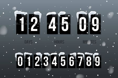 Flip countdown showing days, hours and minutes. Flip board with white numbers on black panels in retro style on snowfall background. Vector winter holiday design element.