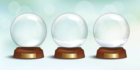 Empty glass snow globe and snow globes with snow on winter holiday background. Vector Christmas and New Year design elements. Snow globe templates