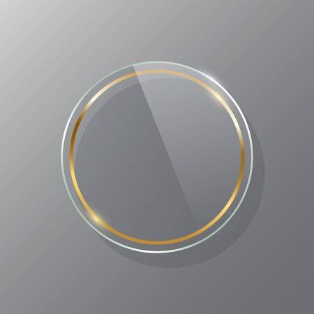 Golden circle glass frame realistic vector mockup set Vektorgrafik