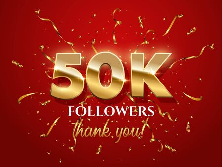50000 followers celebration vector banner with text
