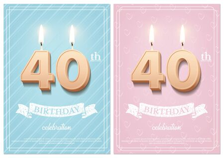 Burning number 40 birthday candles with vintage ribbon and birthday celebration text on textured blue and pink backgrounds in postcard format. Vector vertical fortieth birthday invitation templates. Ilustração