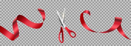 Red scissors cut ribbon realistic illustration