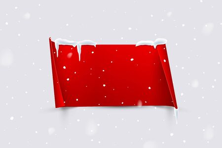 Red paper sheet with curled edges isolated on snowfall background. Vector design element.