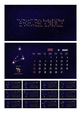 2020 zodiac calendar vector illustration  イラスト・ベクター素材