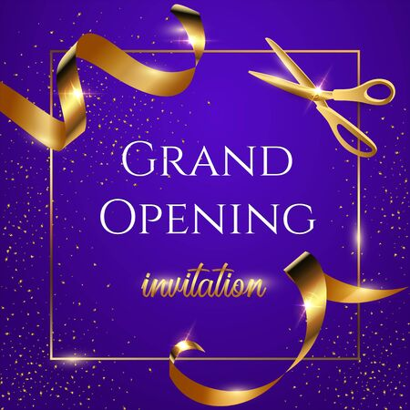 Grand opening invitation blue square vector banner. Shiny scissors cutting golden ribbon