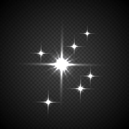 Light flashes vector illustration on transparent background