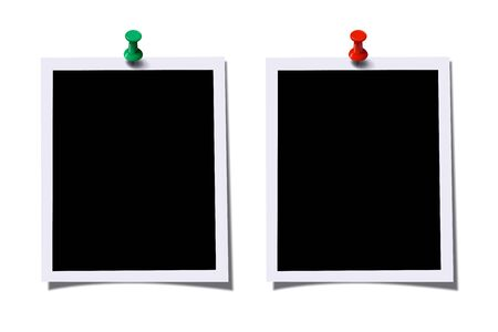 Photo frames with green and red pins isolated on white background. Vector design elements.