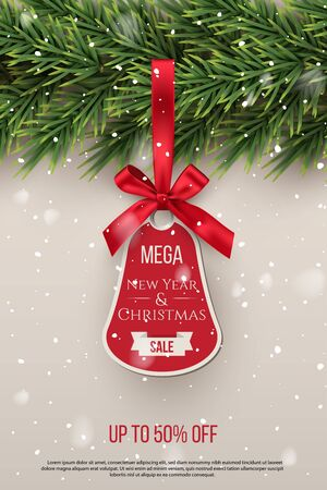 Mega New Year and Christmas sale vector tag template
