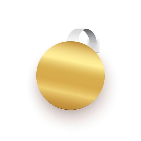 Golden round wobbler isolated on white background. Vector design element.