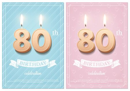 Burning number 80 birthday candles with vintage ribbon and birthday celebration text on textured blue and pink backgrounds in postcard format. Vector vertical eightieth birthday invitation templates.