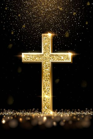 Gold prayer cross realistic vector illustration 일러스트