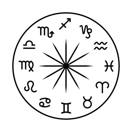 Zodiac wheel vector illustration Archivio Fotografico - 134353994