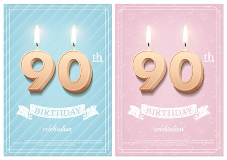 Burning number 90 birthday candles with vintage ribbon and birthday celebration text on textured blue and pink backgrounds in postcard format. Vector vertical ninetieth birthday invitation templates. Illusztráció