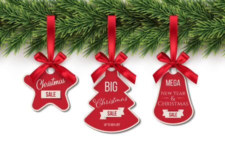 Christmas toys holding on fir tree with Sale text realistic illustrations set. Winter holidays decorations. New year blank tags, labels with ribbons pack. Various shapes pendants collection on white.