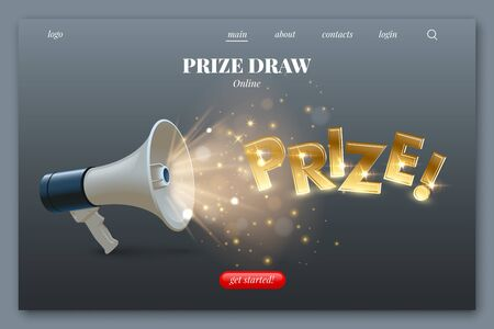 Landing page layout. Blue and white megaphone with golden lights and confetti and Prize word isolated on gray background. Vector design element.