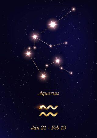 Aquarius constellation vector poster template Stockfoto - 137877363