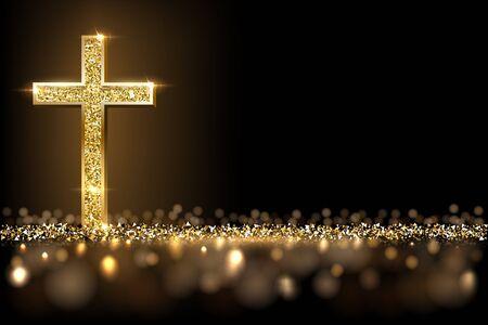 Gold prayer cross realistic vector illustration Çizim