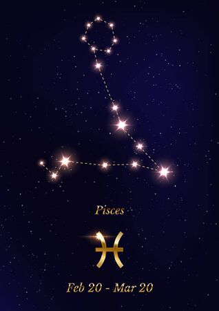 Pisces constellation vector poster template Stockfoto - 137877373