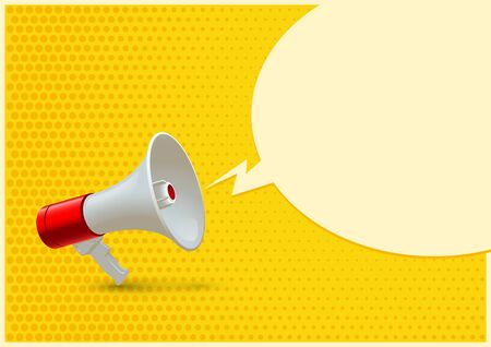 Red and white realistic megaphone and blank speech bubble isolated on yellow pop art background. Vector 3d bullhorn illustration.