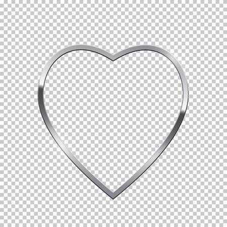 Silver heart shape border isolated on transparent background. Vector golden frame. Stock Illustratie