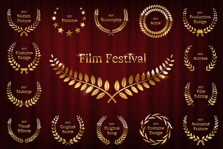 Golden shiny award laurel wreaths isolated on red curtain background. Vector Film Awards design elements.
